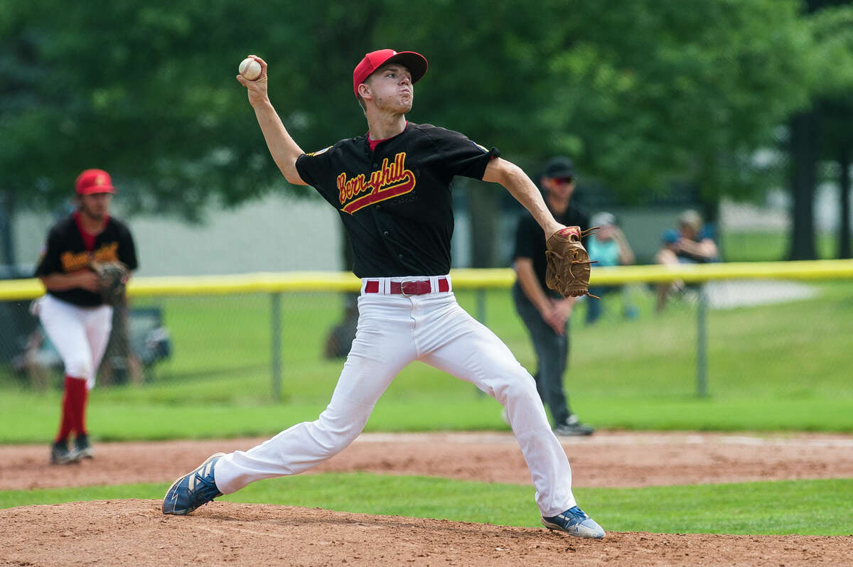 Berryhill's Danny Witbeck delivers a pitch during a July 23, 2021 American Legion Zone 4 tournament game against Petoskey.