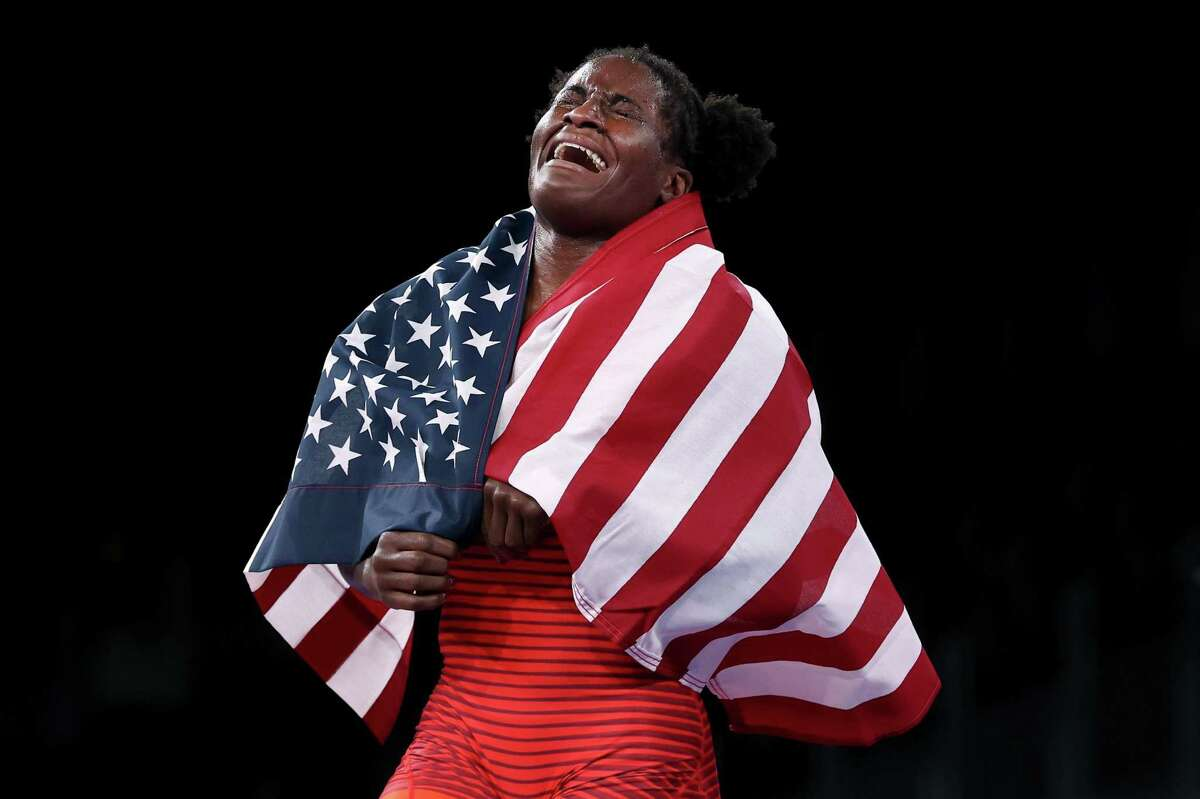 *** BESTPIX *** CHIBA, JAPAN - AUGUST 03: Tamyra Mariama Mensah-Stock of Team United States celebrates defeating Blessing Oborududu of Team Nigeria during the Women's Freestyle 68kg Gold Medal Match on day eleven of the Tokyo 2020 Olympic Games at Makuhari Messe Hall on August 03, 2021 in Chiba, Japan. (Photo by Tom Pennington/Getty Images)