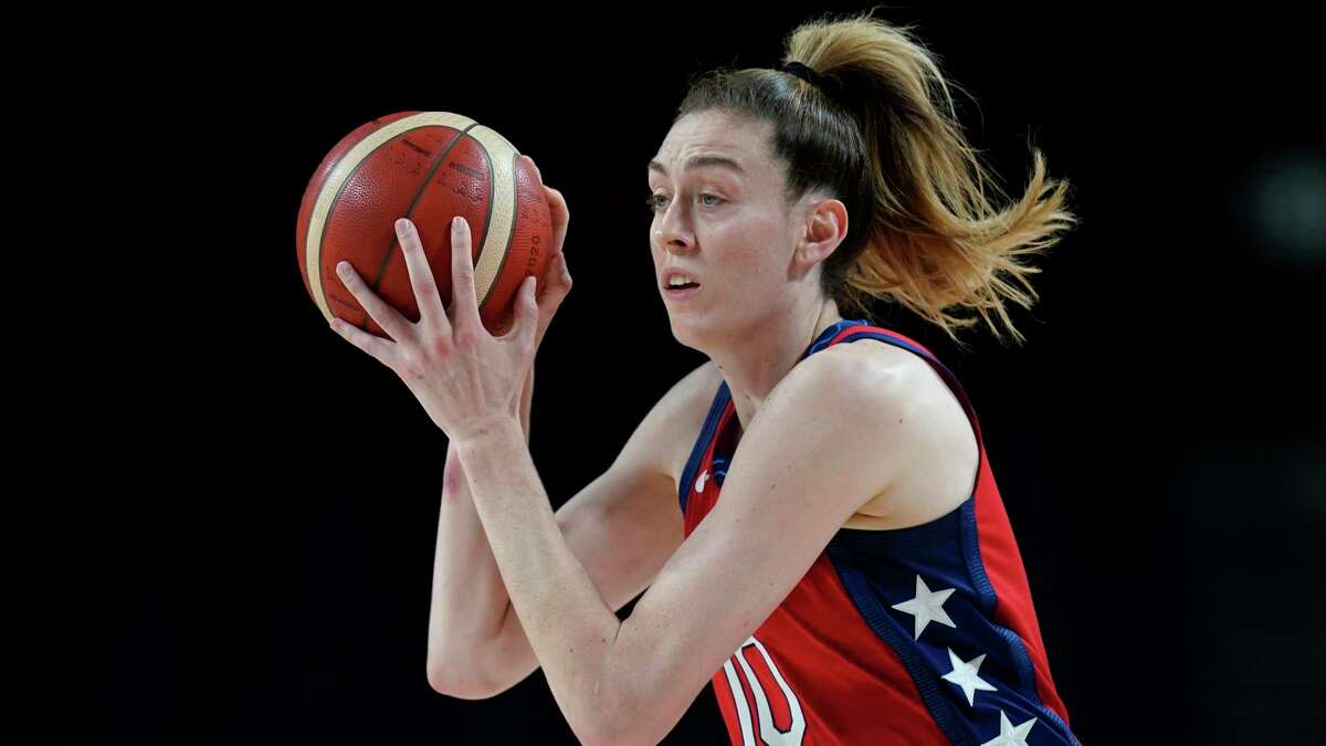 United States's Breanna Stewart (10) drives up court during a women's basketball quarterfinal round game against Australia at the 2020 Summer Olympics, Wednesday, Aug. 4, 2021, in Saitama, Japan. (AP Photo/Charlie Neibergall)