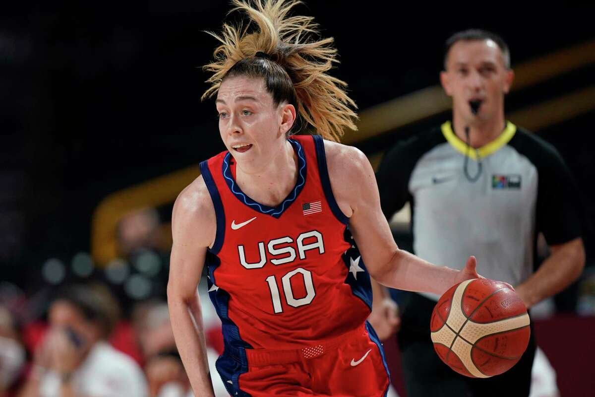 United States' Breanna Stewart (10) drives to the basket against Australia during a women's basketball quarterfinal game at the 2020 Summer Olympics, Wednesday, Aug. 4, 2021, in Saitama, Japan.