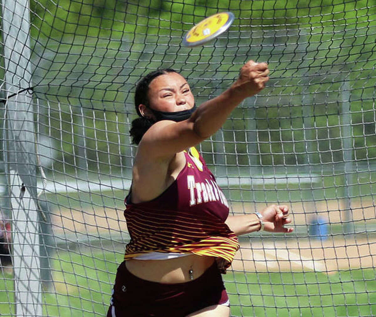 EA-WR senior Jayden Ulrich throws the discus at the Triad Invitational on May 5 in Troy. Ulrich, the Class 2A state champion in both the discus and shot put, is the 2021 Telegraph Small-Schools Girls Track Athlete of the Year.