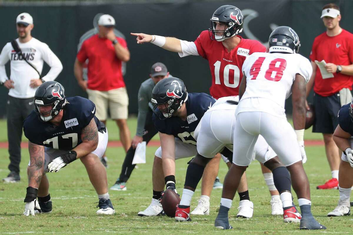 Texans rookie quarterback Davis Mills (10) showed improvement Wednesday after having issues with interceptions over the weekend.