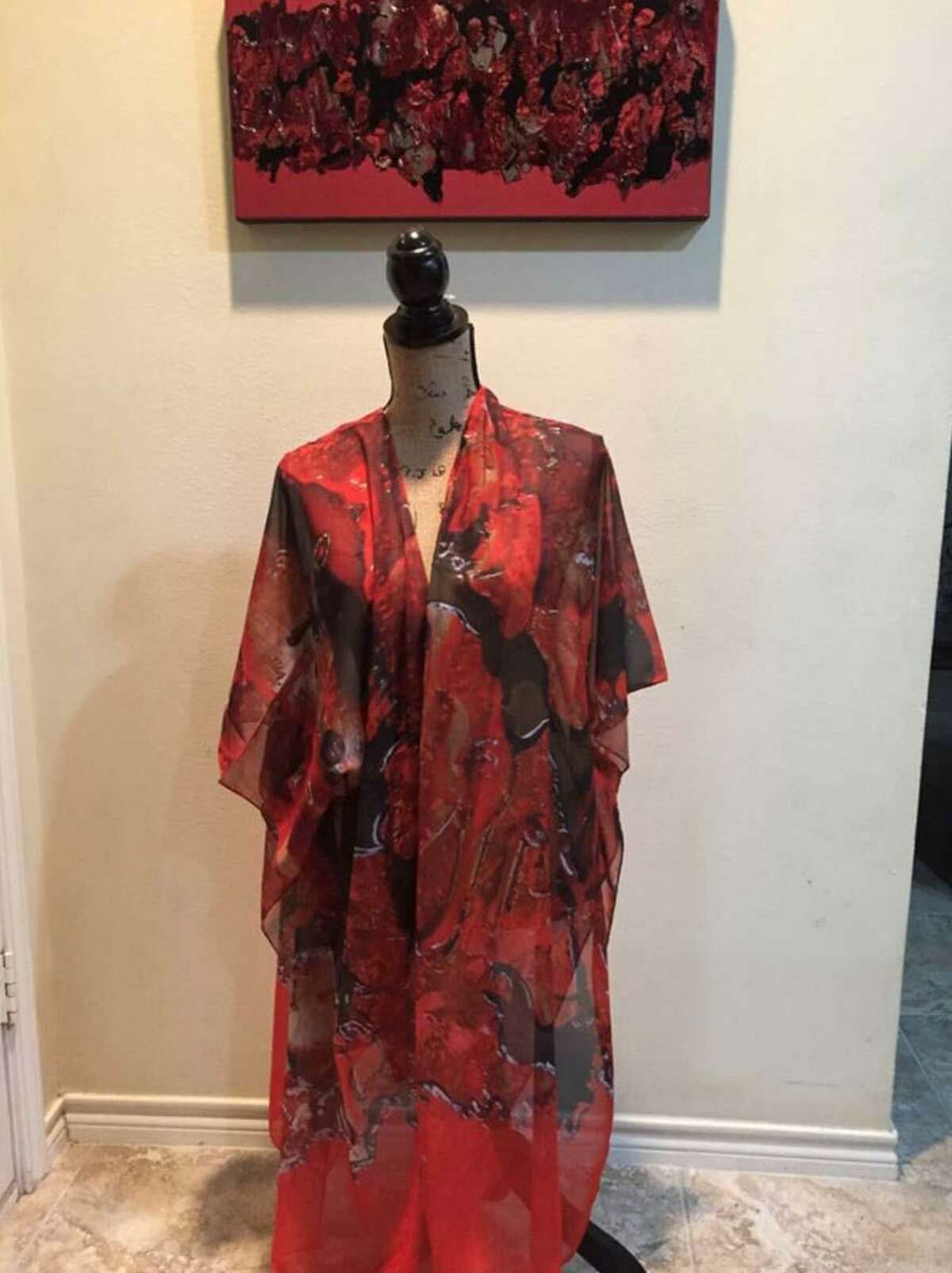 This garment by artist Marilyn Lowry illustrates the unique pieces that will be available at the CAL Wearable Art & Home Decor Trunk Show.