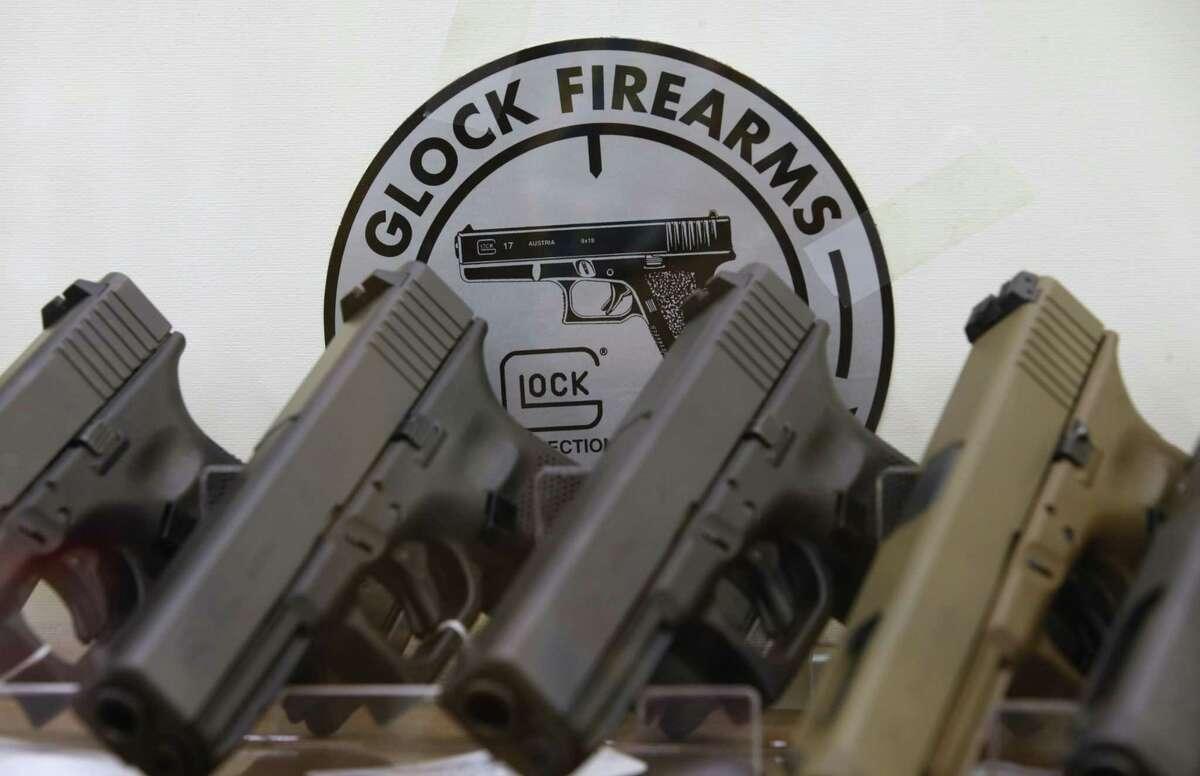 Glock Inc. handguns for sale at a gun store in Orem, Utah, on Aug. 11, 2016.