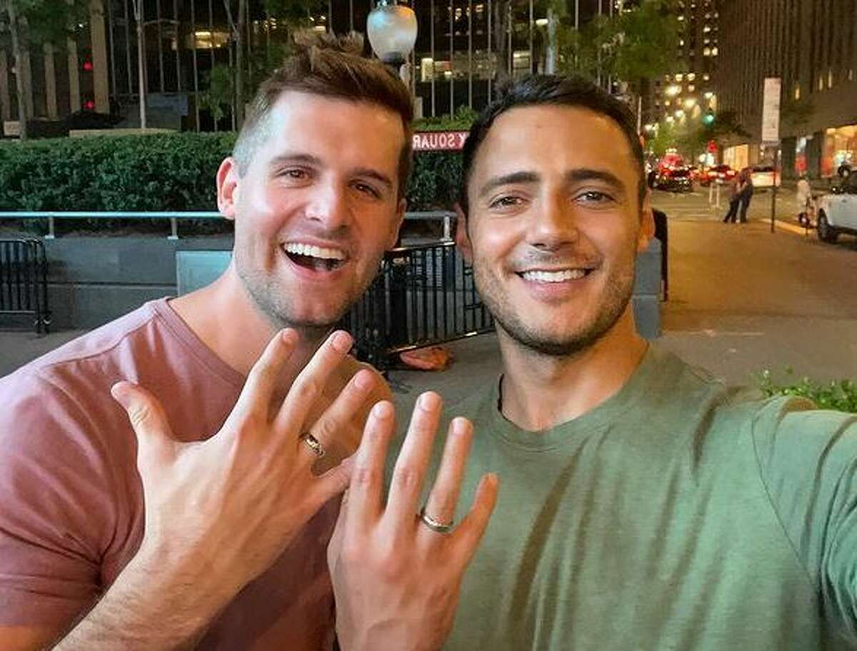 ABC13 anchor Steven Romo announced his engagement to former Fox 26 weatherman Stephen Morgan.
