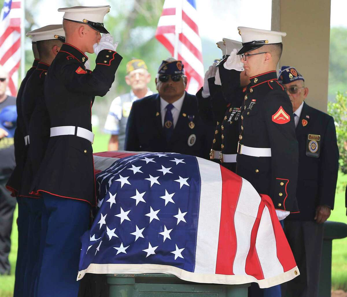 A Marine Corps honor guard salutes the casket of Marine Pfc. J.L. Hancock during a funeral service at Fort Sam Houston National Cemetery on Wednesday. He served in the 2nd Marine Division and was killed during the bitter fighting for the small island of Betio in the Tarawa Atoll of the Gilbert Islands on Nov. 22, 1943. The Defense POW/MIA Accounting Agency identified the remains of Hancock, 21, who grew up in the Texas Panhandle town of McLean.