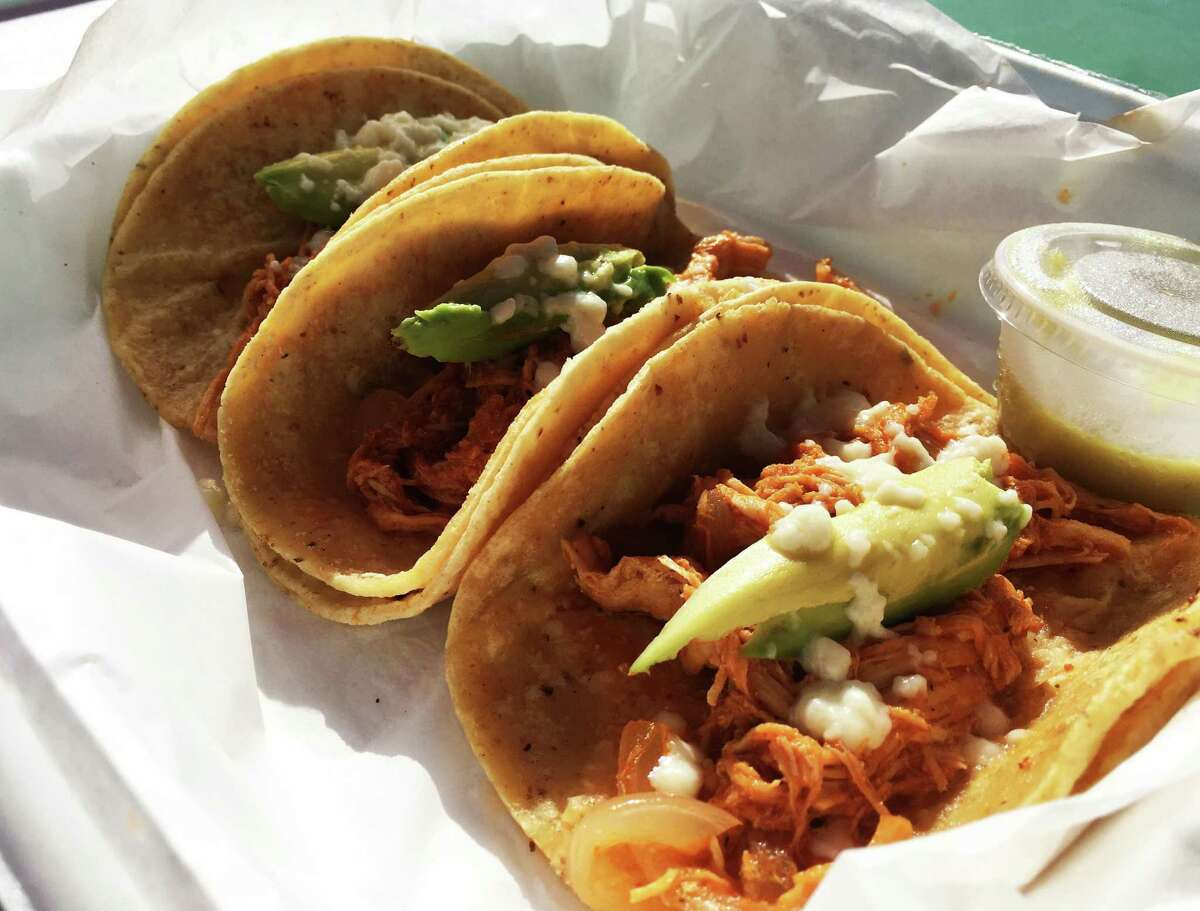 The chicken tinga tacos at Tláloc