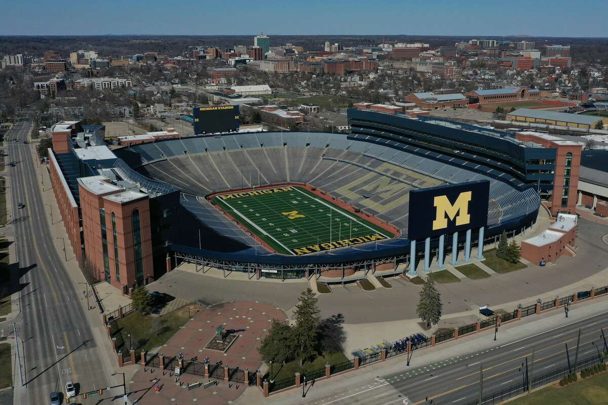 """Michigan Stadium in Ann Arbor is shown from above in this March 15, 2020 aerial photo. Dow High will open its football season against Fenton on Friday, Aug. 27, at the """"Big House."""""""
