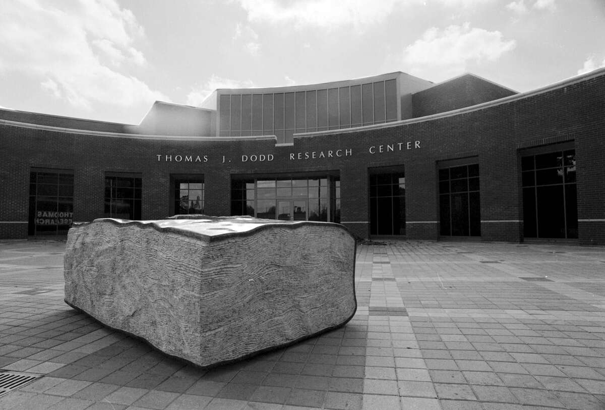 A circa 1996 view of the entrance to the Thomas J. Dodd Research Center. (UConn Photo/Peter Morenus)