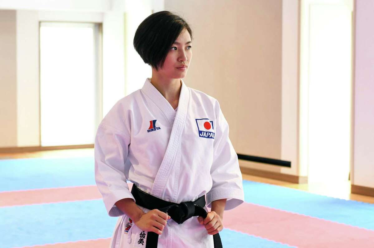 Rika Usami, the head coach of Japan's national karate team, at a training session in Tokyo on July 28, 2021.