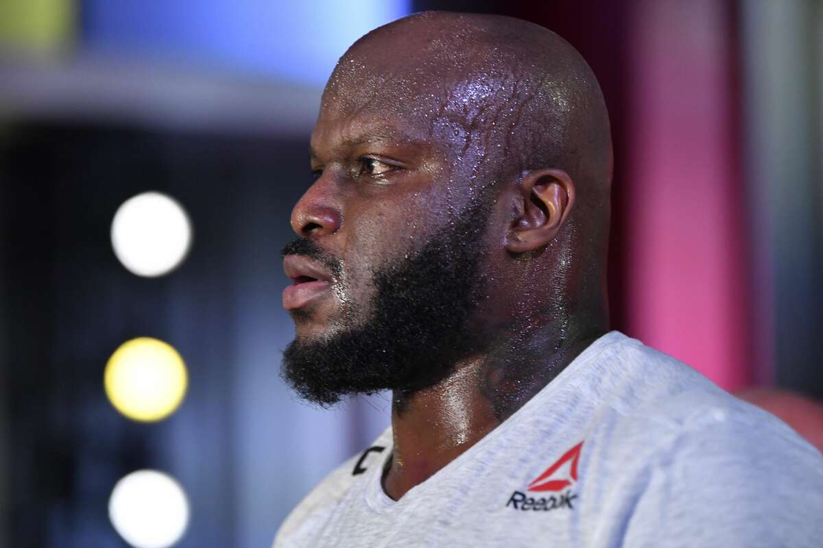 Derrick Lewis reacts after his knockout victory over Curtis Blaydes in a heavyweight bout during the UFC Fight Night event at UFC APEX on February 20, 2021 in Las Vegas, Nevada. (Photo by Chris Unger/Zuffa LLC)