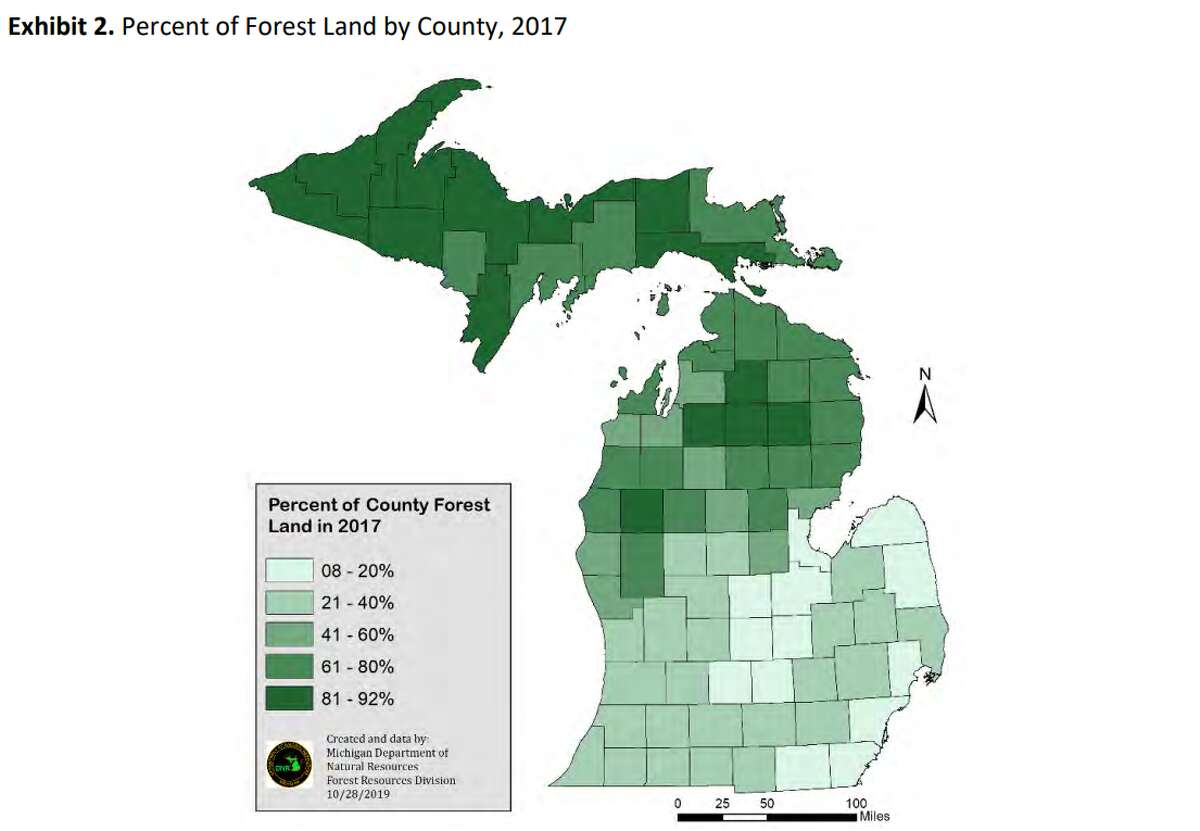 A chart shows the percent of forest land in each Michigan County.