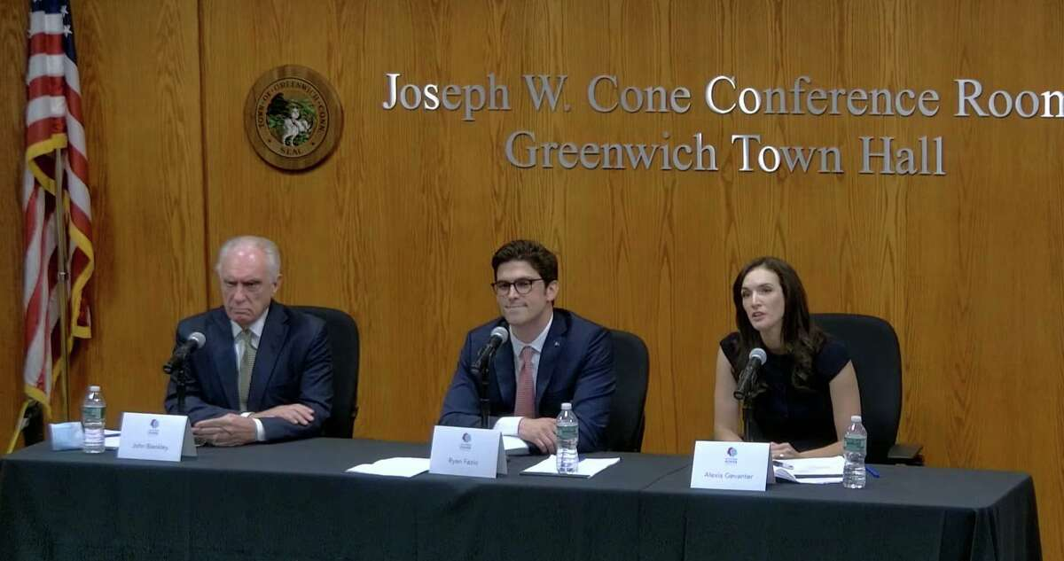 The three candidates running in the Aug. 17 special election for state Senate's 36th District appeared Tuesday night at a debate put together by the My Voting Power education group. From left, John Blankley, the petition candidate; Republican Ryan Fazio; and Democrat Alexis Gevanter spoke on issues facing the district.
