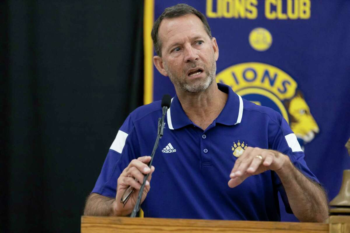 Montgomery High School head football coach John Bolfing speaks during the 45th annual Conroe Noon Lions Club Pigskin Preview at the Lone Star Convention Center, Wednesday, August 4, 2021, in Conroe.