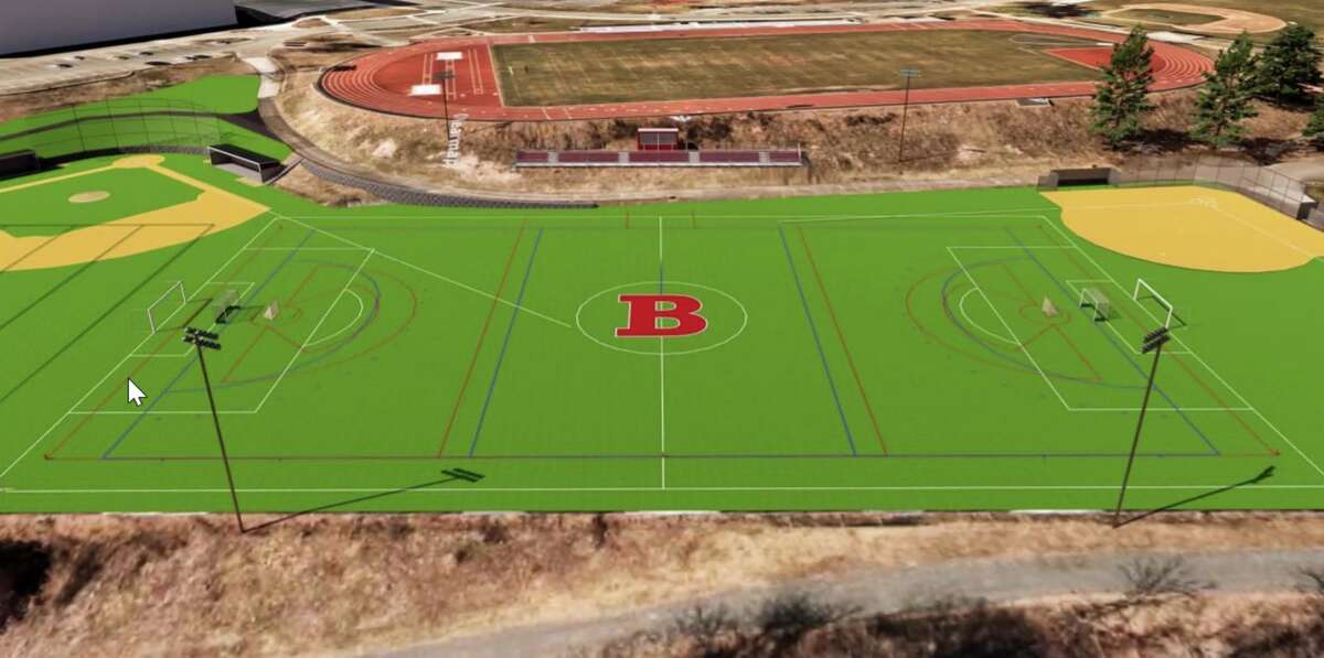 A conceptual rendering of the area behind Bethel Middle School that may soon be replaced with synthetic turf, thanks to the generosity of a private donor.