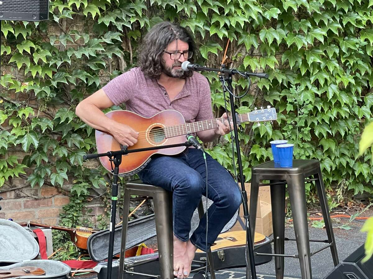 Singer-songwriter Lou Barlow performs at Rare Form Brewing in Troy on Tuesday, Aug. 3, 2021.