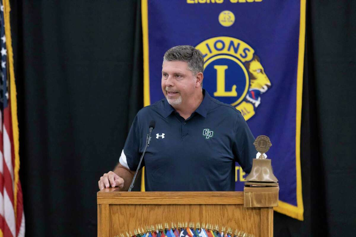 College Park High School head football coach Lonnie Madison speaks during the 45th annual Conroe Noon Lions Club Pigskin Preview at the Lone Star Convention Center, Wednesday, August 4, 2021, in Conroe.