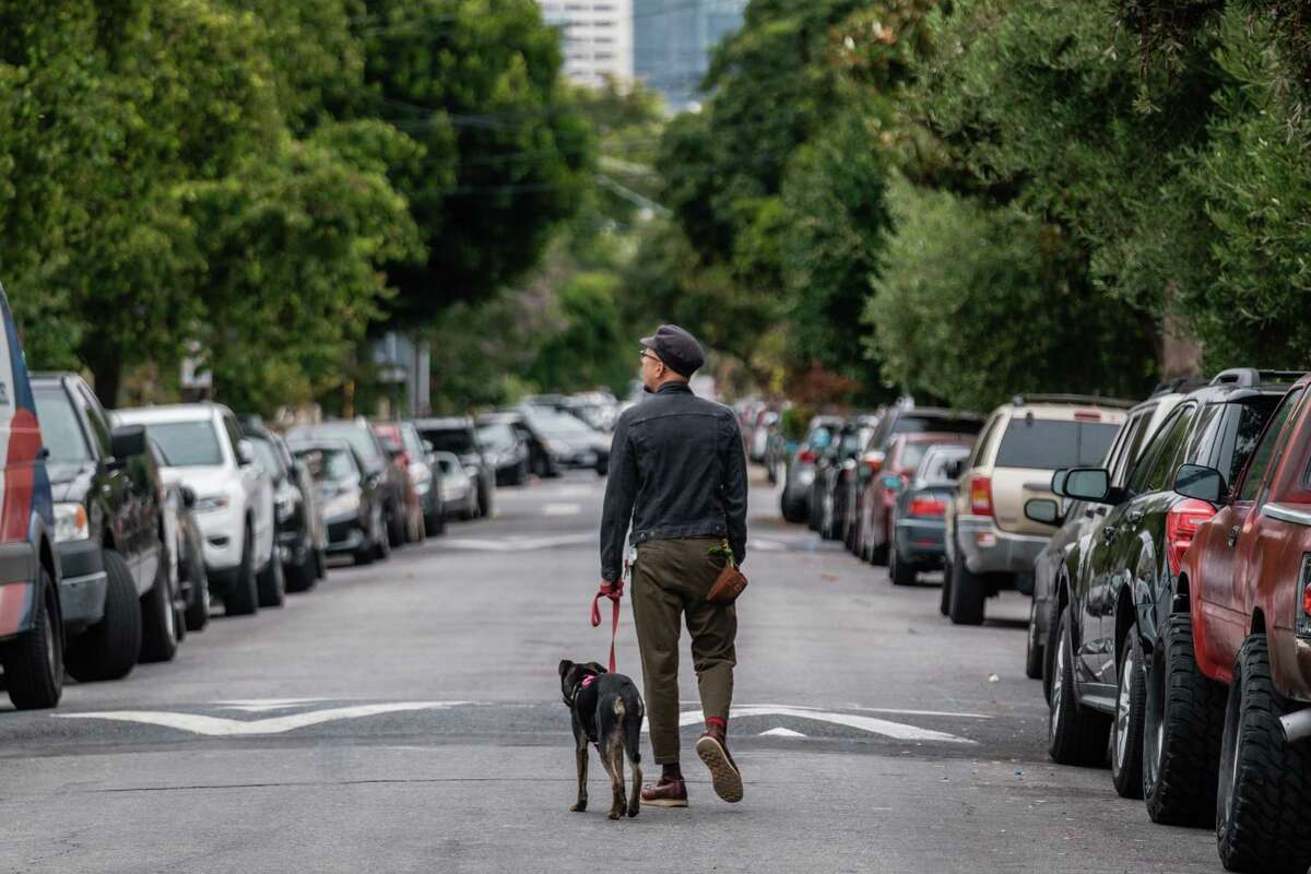 Cris Esquivel and his dog Zola walk down Shotwell Street in San Francisco on Wednesday. The SFMTA board approved the first round of Slow Streets to make it beyond the city's emergency COVID-19 order. Four corridors have been approved, including Shotwell Street in the Mission District between 14th Street and Cesar Chavez Street.