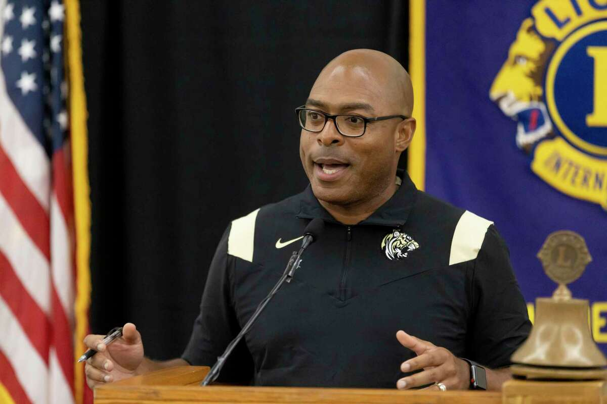 Conroe High School head football coach Cedric Hardeman speaks during the 45th annual Conroe Noon Lions Club Pigskin Preview at the Lone Star Convention Center, Wednesday, August 4, 2021, in Conroe.