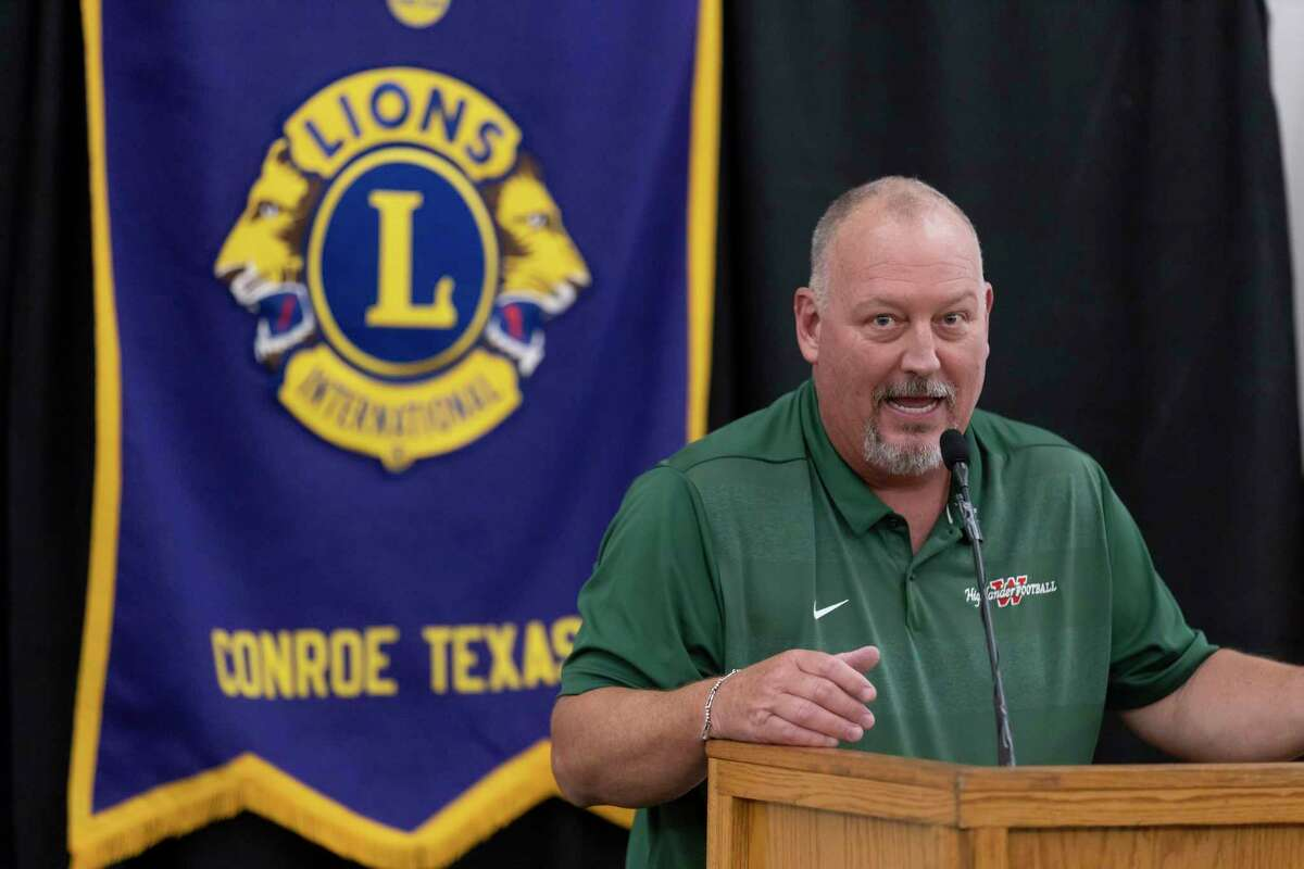 The Woodlands High School head football coach Jim Rapp speaks during the 45th annual Conroe Noon Lions Club Pigskin Preview at the Lone Star Convention Center, Wednesday, August 4, 2021, in Conroe.