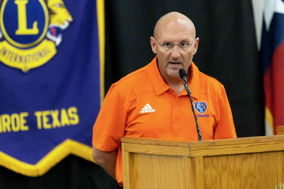 Grand Oaks High School head football coach Dr. Mike Jackson speaks during the 45th annual Conroe Noon Lions Club Pigskin Preview at the Lone Star Convention Center, Wednesday, August 4, 2021, in Conroe.