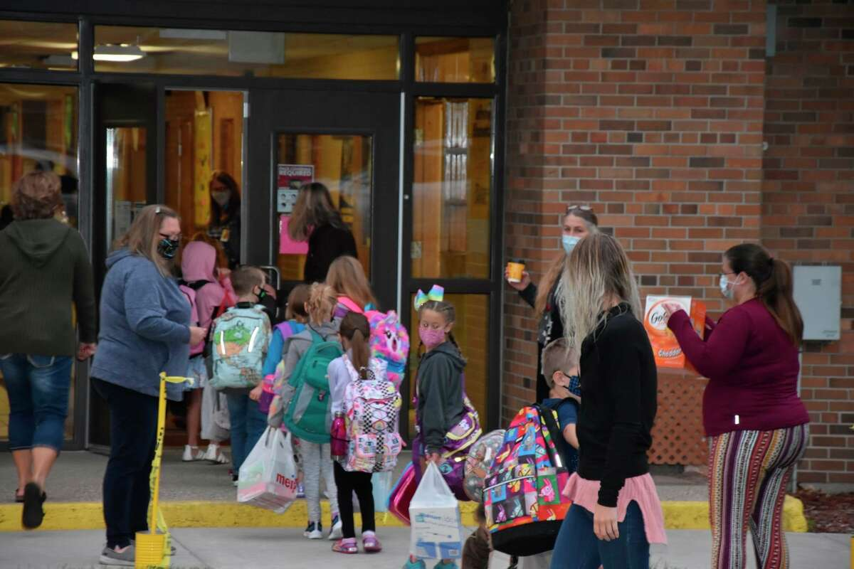 In this file photo, students at Jefferson Elementary return for the first day of school on Sept. 8, 2020. This year, most Manistee County schools will be starting before Labor Day thanks to a waiver granted by the Michigan Department of Education.