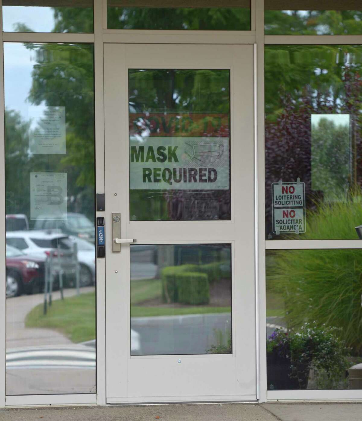 Brookfield Town Hall has returned to requiring a mask to enter. Wednesday, August 4, 2021, Brookfield, Conn.