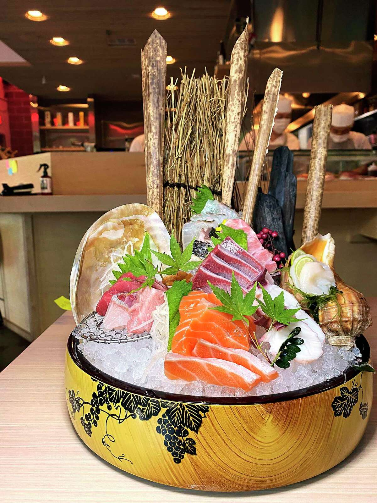 The sashimi mix on a recent night at Shiro Japanese Bistro included, from left, various varieties of bluefin tuna and salmon, sea urchin, hamachi, mackerel, red sea bream, otoro bluefin tuna, octopus and sea scallops.