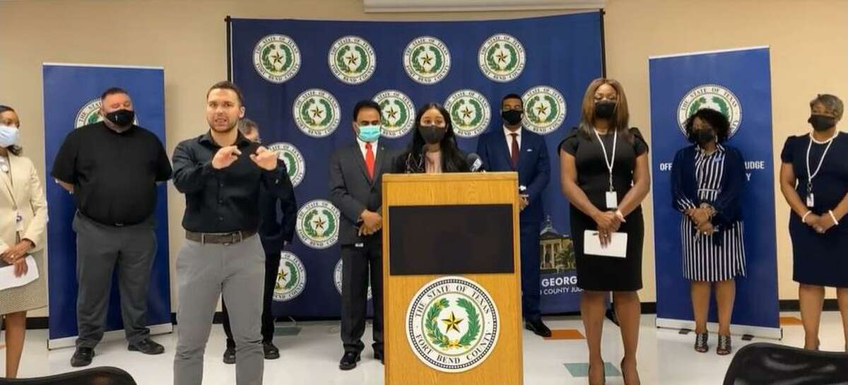 High school senior Anshumi Javeri shares her concerns about returning to in-person learning with no mask mandates or social distancing requirements at campuses during a press conference with Fort Bend County Judge KP George and other county leaders on Aug. 3, 2021.