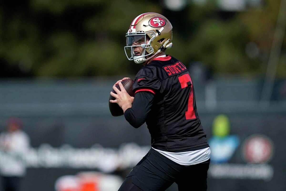San Francisco 49ers quarterback Nate Sudfeld during training camp in Santa Clara on July 28.