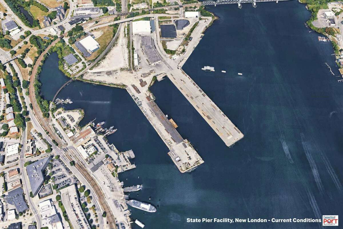 The State Pier in New London as it currently exists. The renovation of the site includes the filling in of the central wharf between the two existing piers, adding space to handle the massive equipment used to assemble offshore wind turbines.
