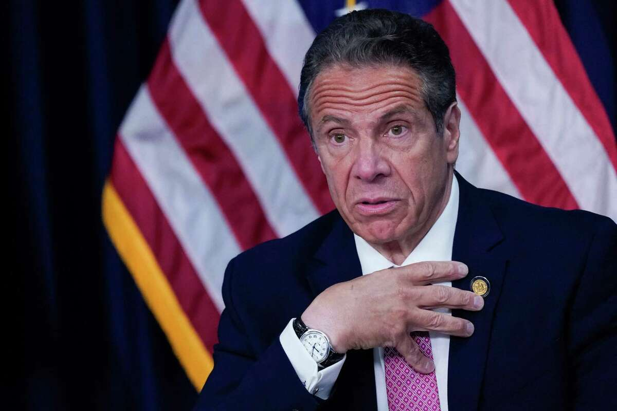(FILES) In this file photo taken on May 10, 2021 New York Gov. Andrew Cuomo speaks during a news conference in New York City. - Governor Andrew Cuomo is expected to be questioned this weekend as part of the New York state attorney general's probe of sexual misconduct allegations against him, news reports said on July 15, 2021. (Photo by Mary ALTAFFER / POOL / AFP) (Photo by MARY ALTAFFER/POOL/AFP via Getty Images)