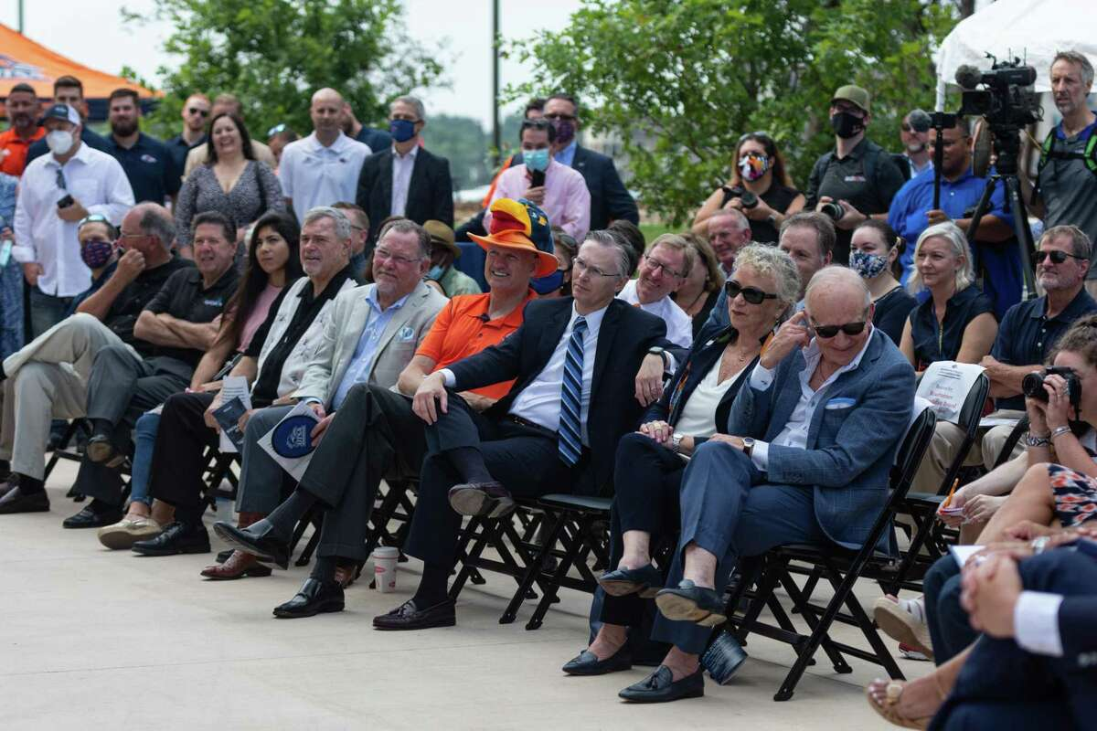 On Wednesday, Aug. 4, 2021, guests listen to a speaker for the grand opening of UTSA's Roadrunner Athletics Center of Excellence (RACE) in San Antonio.