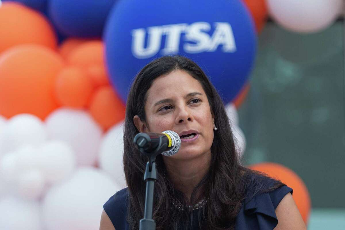 On Wednesday, August 4th of 2021, UTSA Vice President for Intercollegiate Athletics Lisa Campos speaks at the Grand Opening of the Roadrunner Athletics Center of Excellence (RACE) in San Antonio, Texas.
