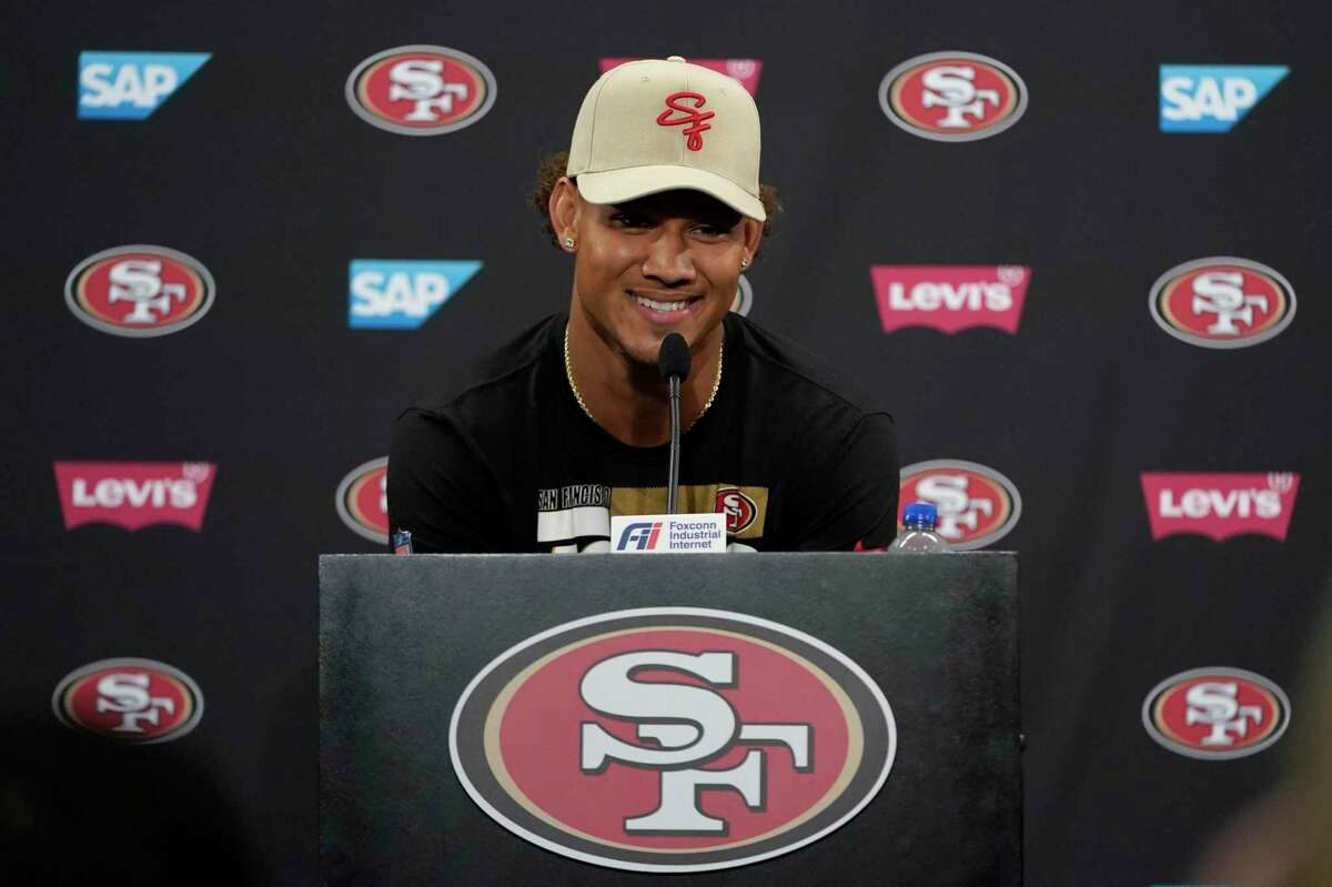 San Francisco 49ers quarterback Trey Lance speaks during a news conference at training camp in Santa Clara on July 29.