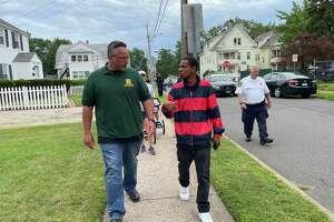 Hamden Mayor Curt Balzano Leng, left, and event organizer Daniel Hunt at the Police Department's first community walk, Aug. 4, 2021.