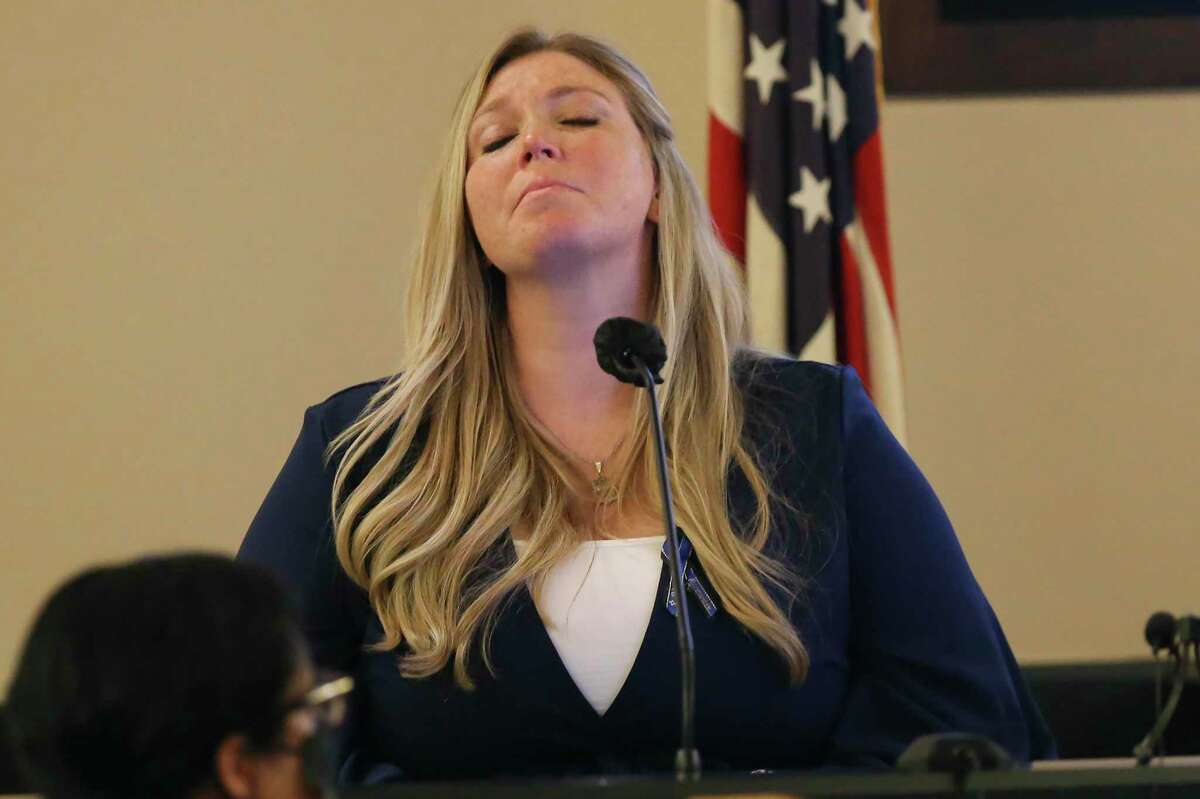 Jacy Reeves, step-daughter of San Antonio police Detective Benjamin Marconi, testifies during Day 5 of the punishment phase in the capital murder trial of Otis McKane on Wednesday, Aug. 4, 2021.