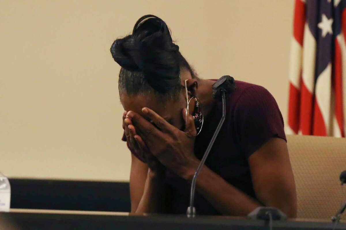Sandra McKane, mother of Otis McKane, breaks down while testifying for the defense on day five of the punishment phase in his capital murder trial in the Bexar County 379th District Court, Wednesday, Aug. 4, 2021. On July 26, McKane was found guilty of murdering San Antonio police Detective Benjamin Marconi on Nov. 20, 2016. The mother was recalling the day he was arrested on the capital murder charges, the day after the murder.