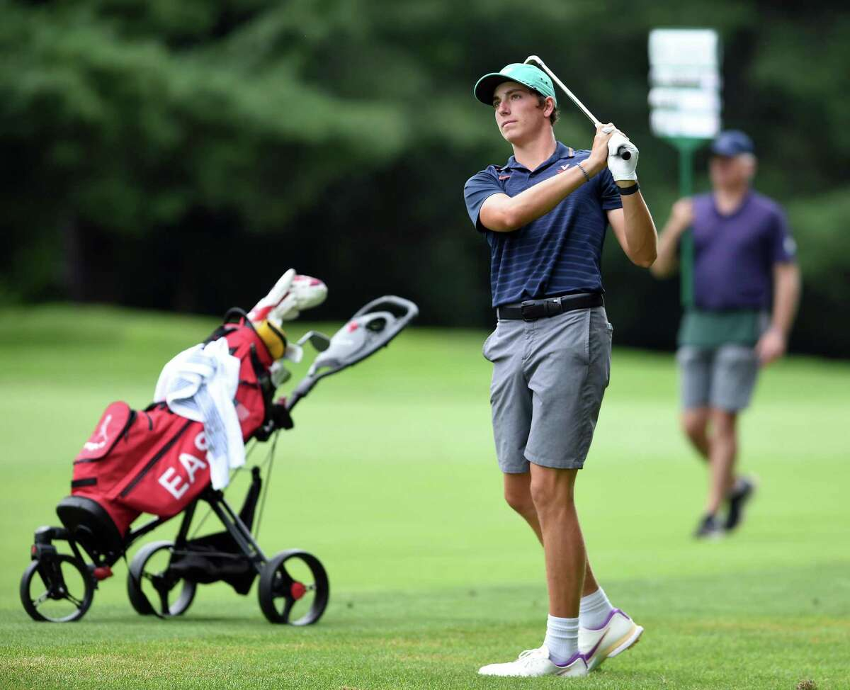 BenJames of Milford hits to the green on the fifth hole in the final round of the Northern Junior Championship at the New Haven Country Club in Hamden on Wednesday.