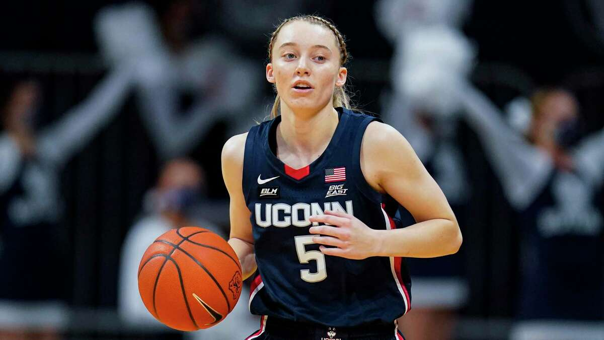 UConn guard Paige Bueckers (5) plays against Butler during the first quarter of an NCAA college basketball game in Indianapolis in February.