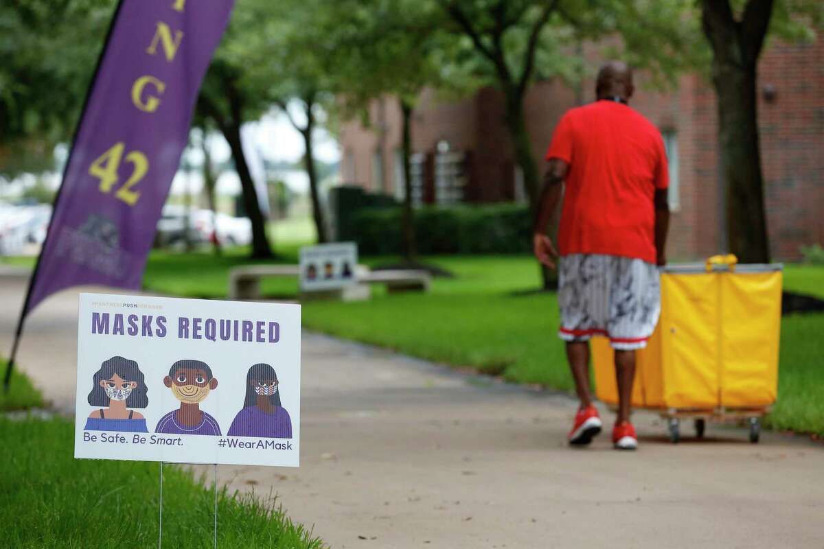 Signs for social distancing and masks were all over campus last fall at Prairie View A&M University.