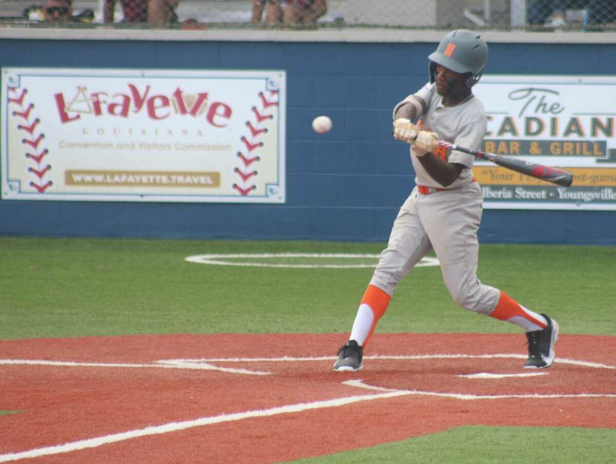 NASA Orange batter Dylan Proctor, shown taking a swing at a pitch in Sunday's South Zone championship game in Youngsville, La., helped leave a lasting and meaningful impact on his community.