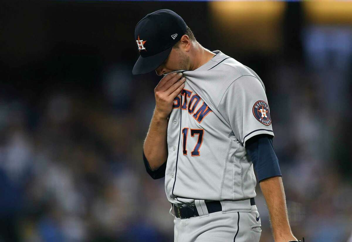 It was a night to forget for Astros starter Jake Odorizzi, who was blasted for seven runs and four homers during Wednesday's loss to the Dodgers.