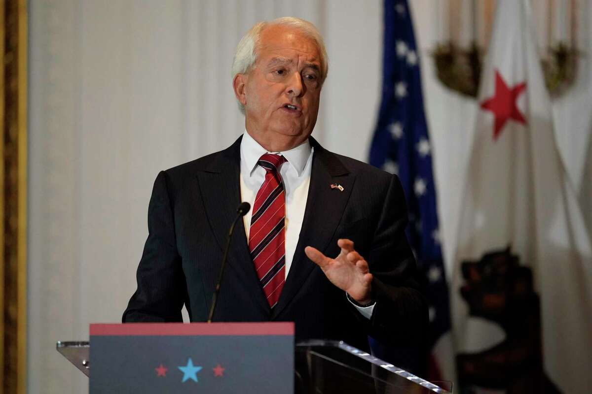Republican candidate for California governor John Cox speaks during a debate at the Richard Nixon Presidential Library on Wednesday, Aug. 4, in Yorba Linda (Orange County). Gov. Gavin Newsom faces a Sept. 14 recall election that could remove him from office.
