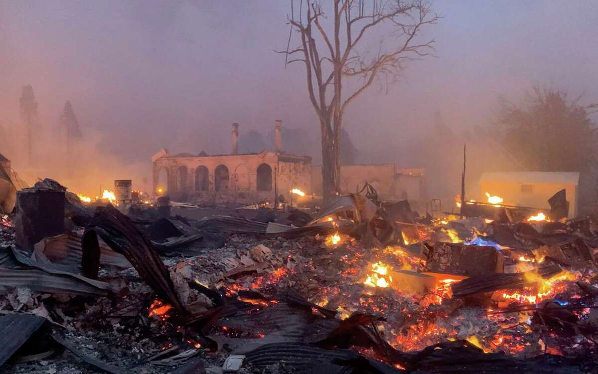 The Dixie Fire rips through the town of Greenville, Calif. on Wednesday, August 4, 2021.