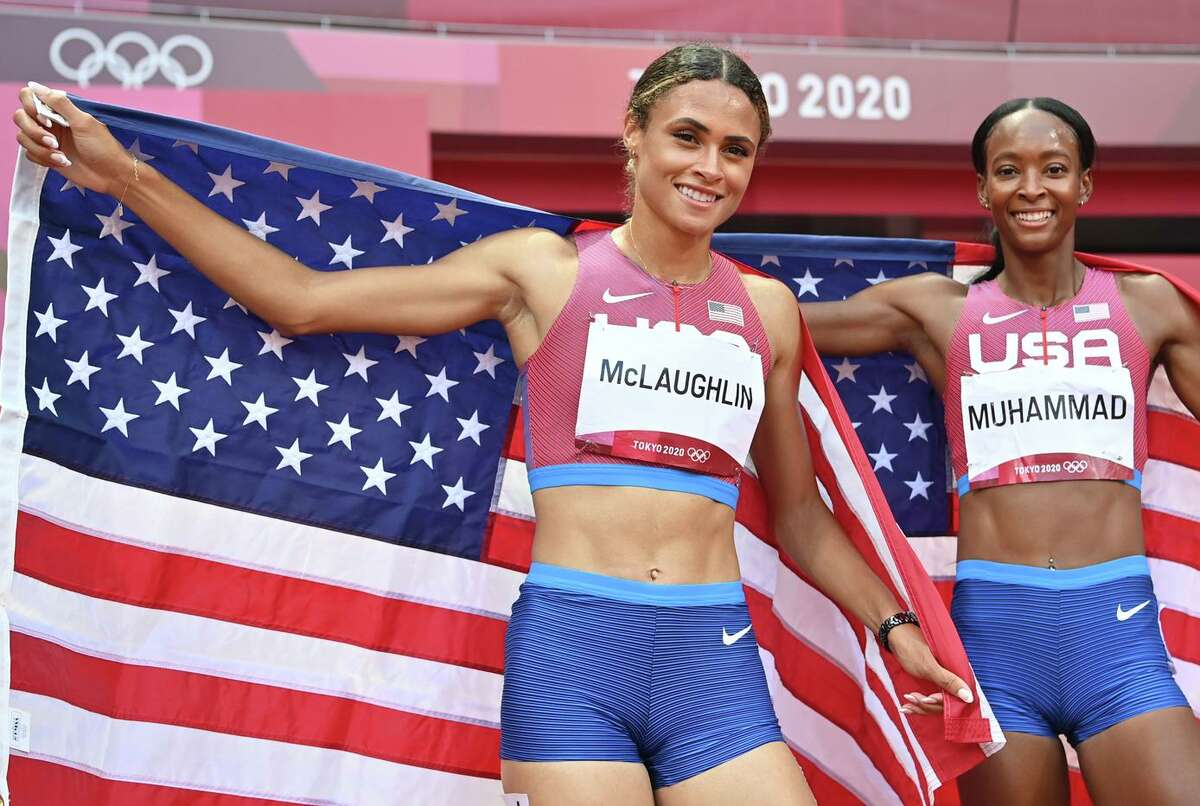 Sydney Mclaughlin and Dalilah Muhammad finished 1-2 in the women's 400-meter hurdles.