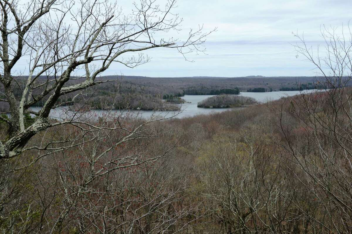 View of the Saugatuck Reservoir from the Great Ledge at Devil's Den Nature Preserve in Redding, Conn.