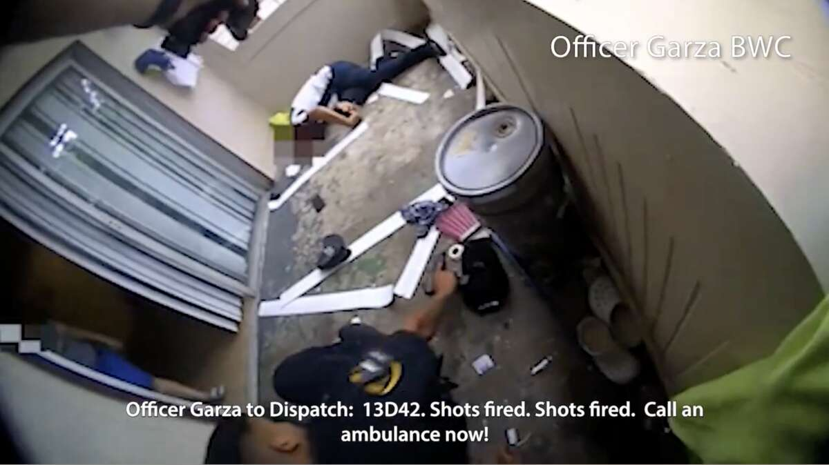 The videos show two HPD officers responding July 6, 2021, to a family disturbance call at a southeast Houston apartment complex.