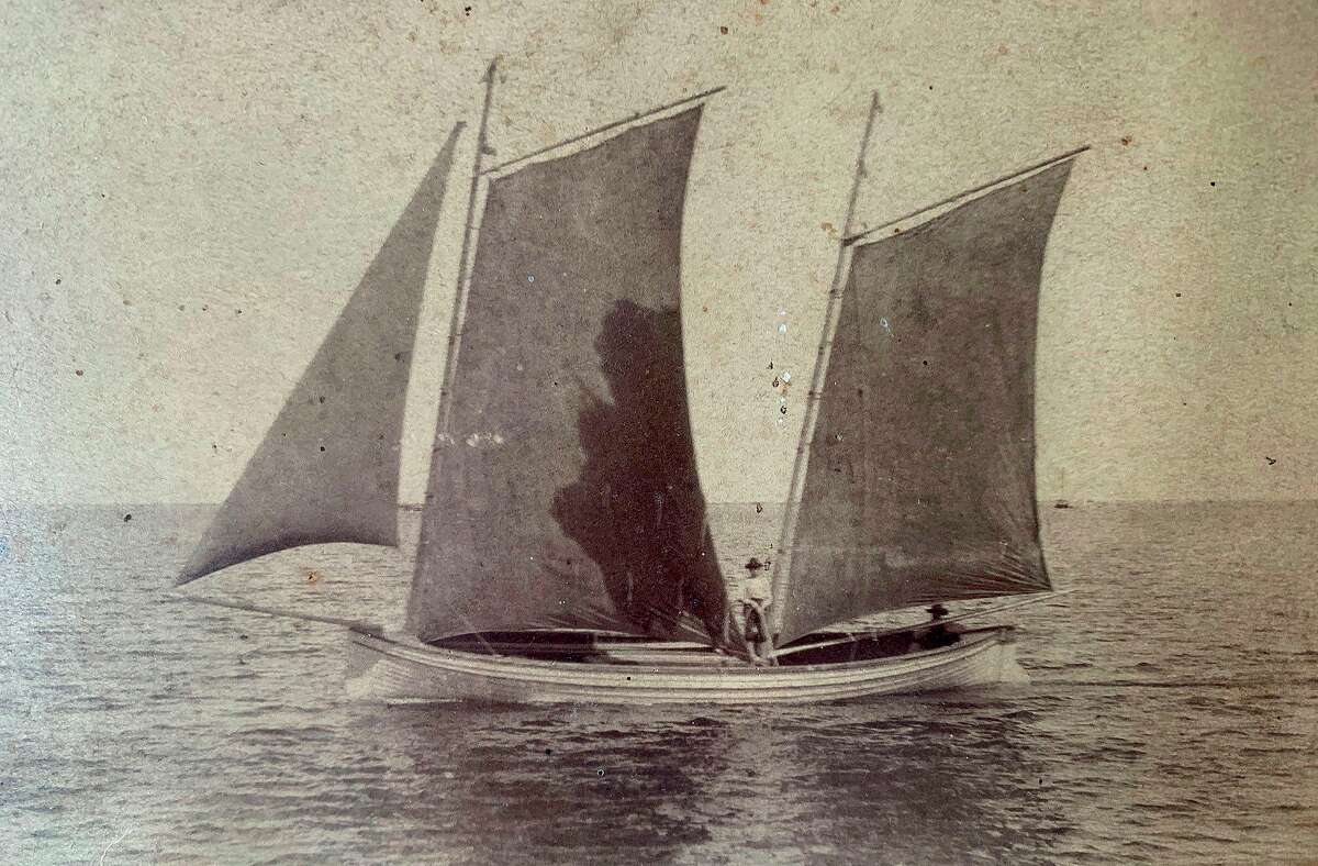 The historical photograph shows a Mackinaw boat, similar to a vessel found in about 10 feet of water near the Grindstone City Harbor. (Robert McGreevy/Courtesy photo)
