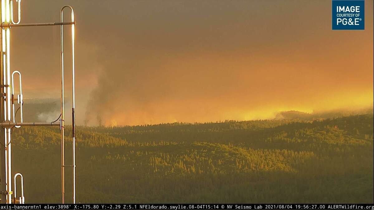 A wildfire camera captures the River Fire burning near the city of Colfax in Placer County.